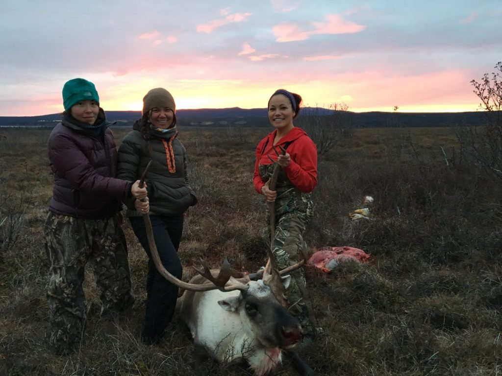 Friends Greta Schuerch, Andrea Sanders and article author Laureli Ivanoff harvested a moose during a recent camping trip. Photo credit: Laureli Ivanoff